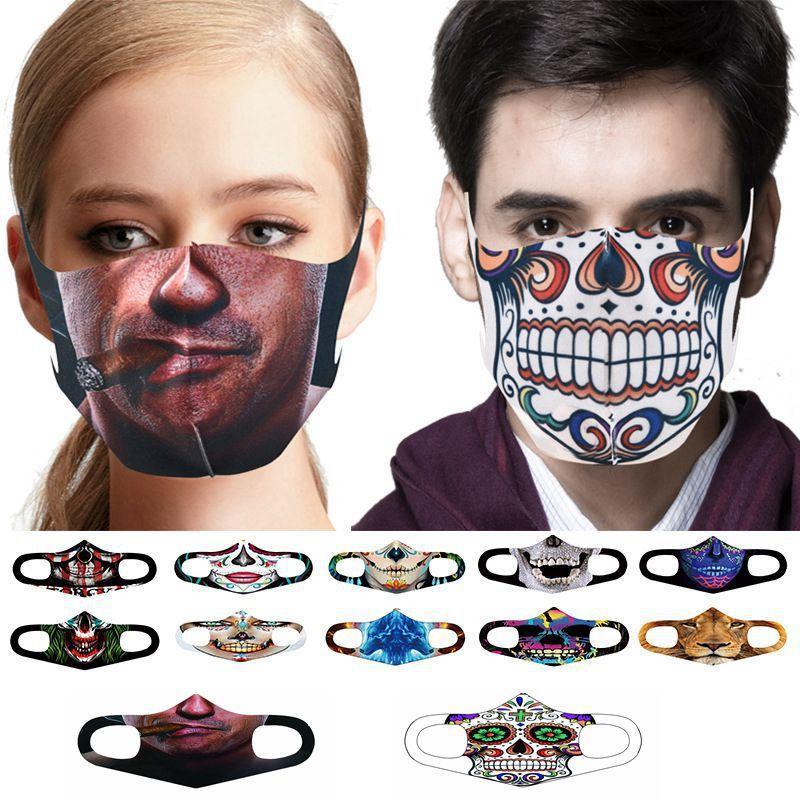 Erwachsene Halloween-Gesichtsmaske 3D-Malerei Kürbis-Clown Sonnenschutz Mundmaske waschbare atmungsaktiv Wiederverwendbare Partei OWC2154 Maske