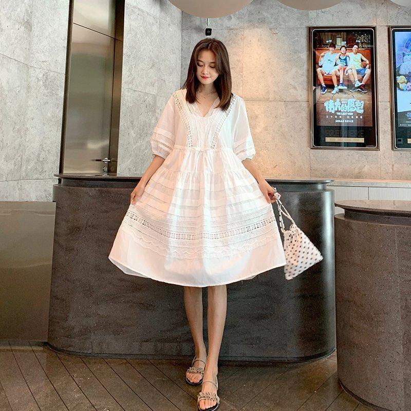 4978 vestido de encaje 2020 nuevo vestido de la cintura de adelgazamiento dressLace dressslightly grasa temperamento de gran tamaño grasa del vientre mm cubriendo hueca falda zge7U ZG