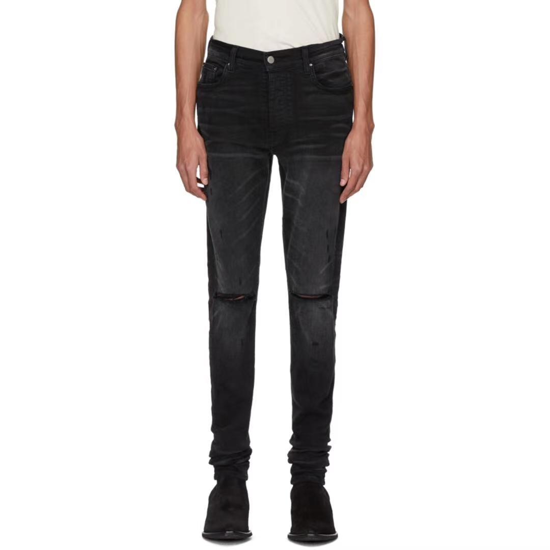 marque européenne de la mode américaine 2020 nouveau trou de coupe couteau genou haute rue lavé vieux jeans de qualité supérieure