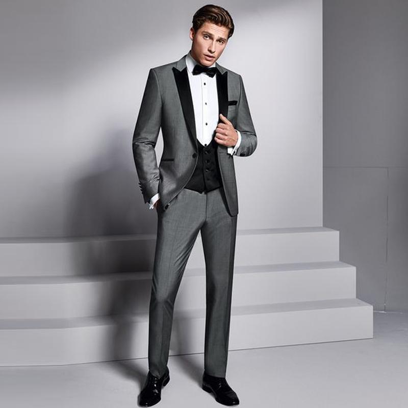 Grey Groomsmen abito da uomo Completo da sposa nero con revers 3 Pezzi Wedding Tuxedo Suit per l'uomo