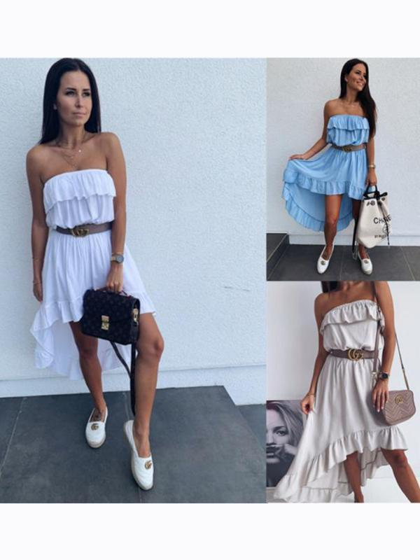 Casual Dresses Summer Women's Sell Dress In Europe And US Tube Top Waist Solid Color Sexy Big Swing