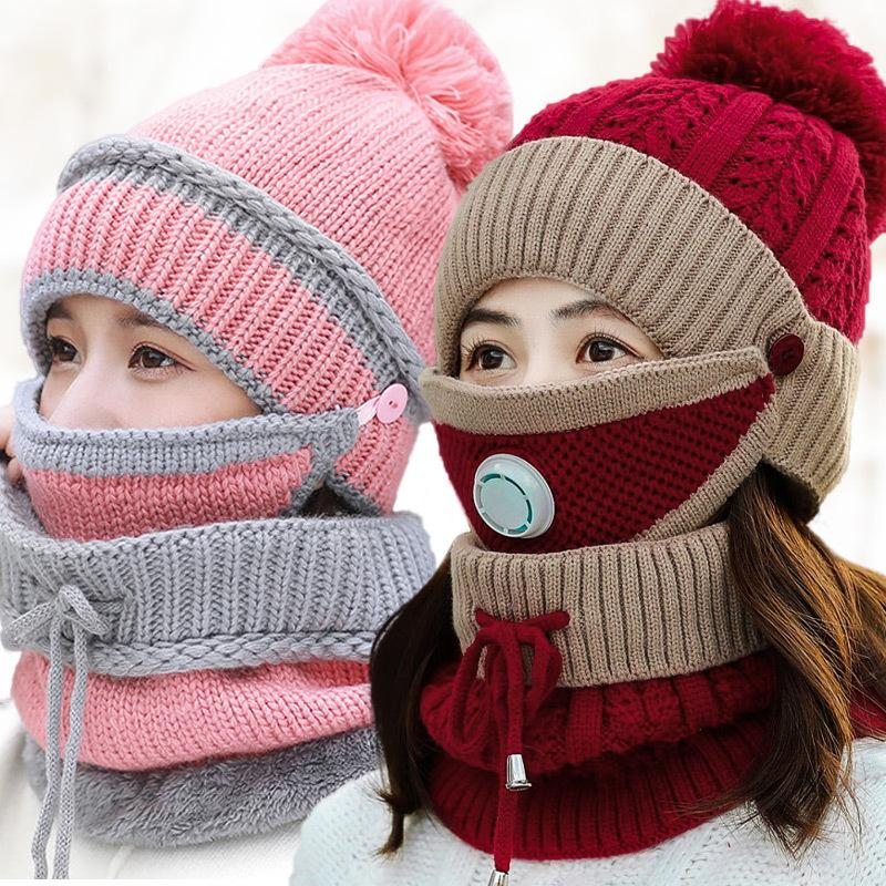 Moda inverno HatScarfMask regolati per le donne ragazze Cap Berretti calde Breathe Caps Sciarpa Pompoms maglia e Protezione Sciarpa Maschera 3 Pezzi / Set