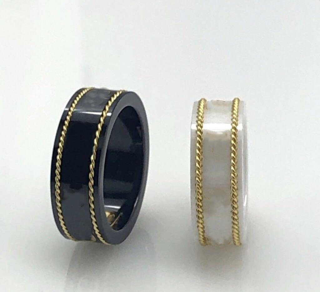 18 K Altın Jant Çift Yüzük Moda Basit Mektup Yüzük Kaliteli Seramik Malzeme Yüzük Moda Takı Kaynağı