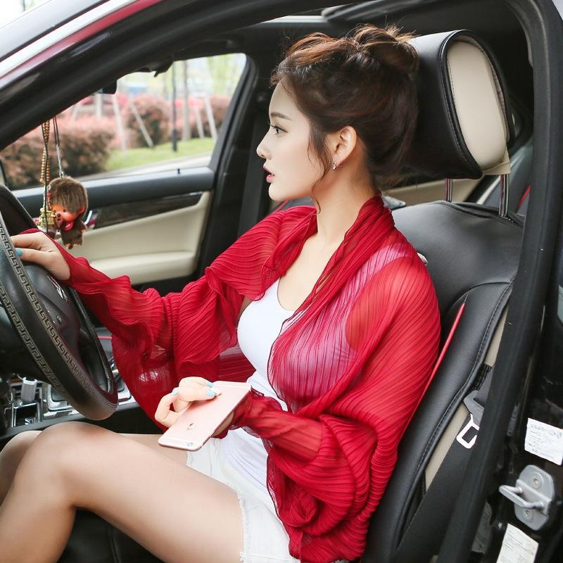 J0AMZ весной и летом новый корейский стиль сплошной цвет шифона ВС доказательство шарф двойного назначения все-матч плиссированные шарфа Drive шаль вождения SLEE