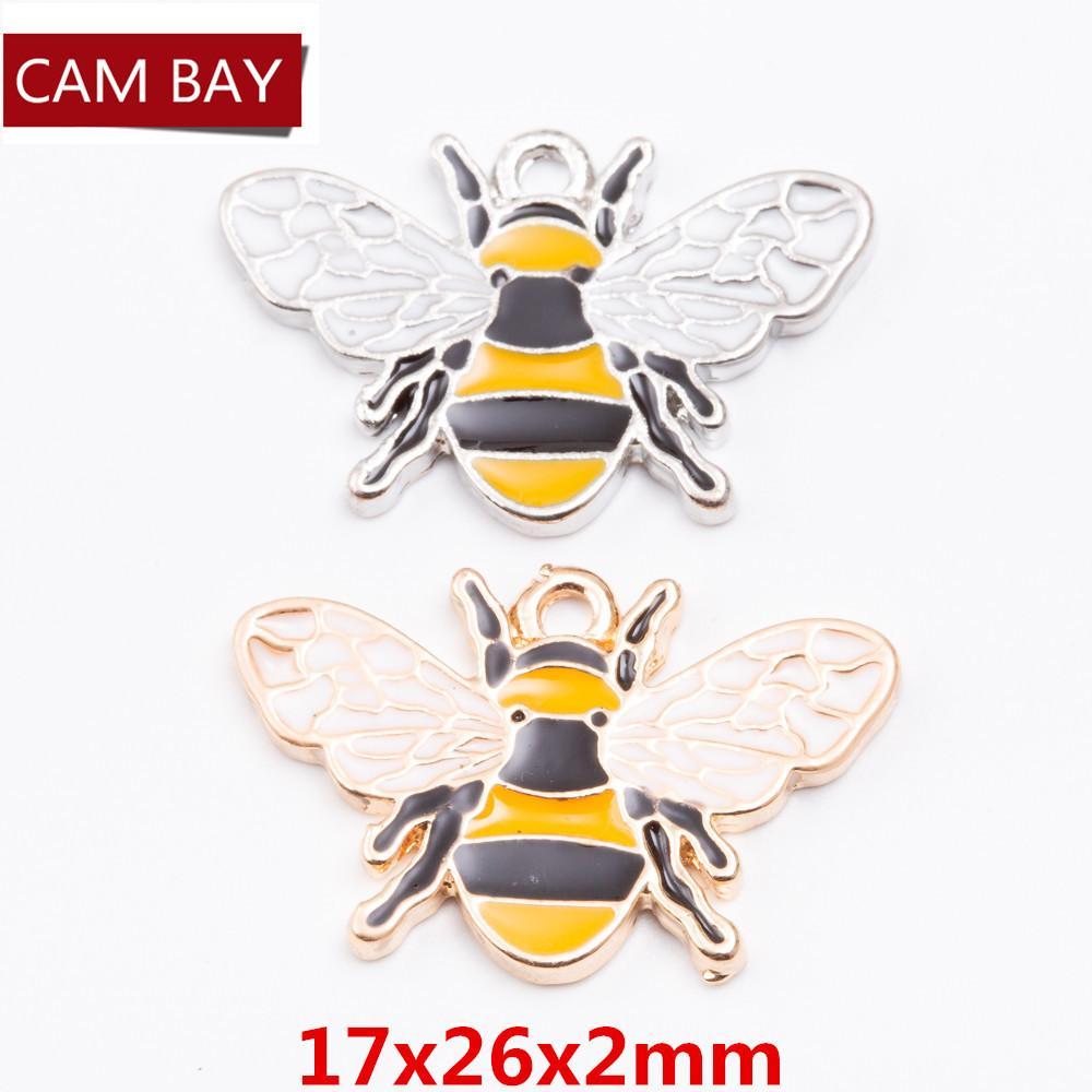 40pcs сплава цинка Прекрасный Пчелиный пролитого масла Подвески Подвески DIY ювелирных Fit браслеты серьги ожерелья