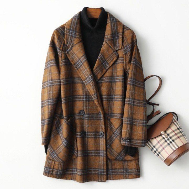 2020 señoras de la cachemira de cuello largo abrigo elegante traje a cuadros abrigo de lana, diseño de hendidura cálido abrigo de invierno