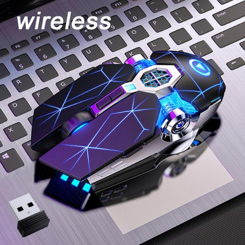 Gaming Mouse Rechargeable Wireless Silent Mouse LED Backlit 2.4G USB 1600DPI Optical Ergonomic Gamer Desktop For PC Laptop