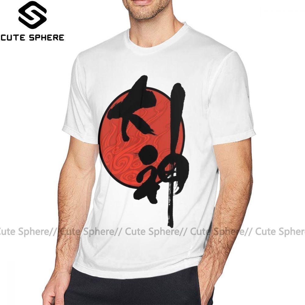 Okami-T-Shirt Okami T-Shirt Graphic Kurzarm-T-Shirt Männer Super Plus size 100 Prozent Baumwolle Mode-T-Shirt
