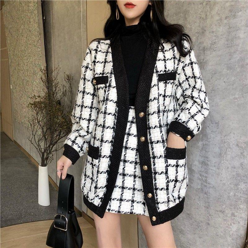 Nueva llegada de pista otoño invierno de manga larga chaqueta de abrigo de tweed de lana + Mini Faldas de lana señoras de las mujeres Ropa de segunda mano de 2 pedazos