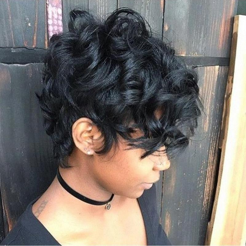 Sapphire Side Part Human Hair Wigs Bob Wig Short Human Hair Lace Wig For Black Women Pixie Cut Brazilian Curly Lace fQ2K#