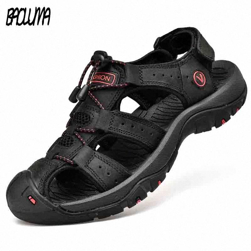 Clásica para hombre sandalias suave sandalias del verano de los hombres cómodos zapatos de cuero genuino del tamaño grande al aire libre de los hombres suave romana FbnQ #