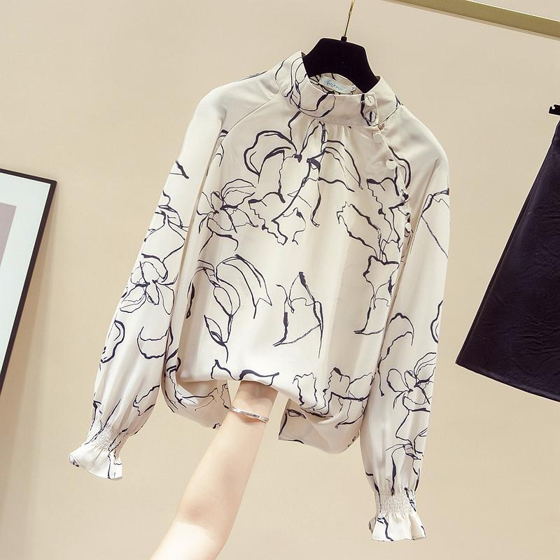 2020 Осень Женские O шеи Кнопка Дизайн Flare Длинные рукава Цветочные печати шифон рубашки женские рубашки вскользь Блуза Tops A3689