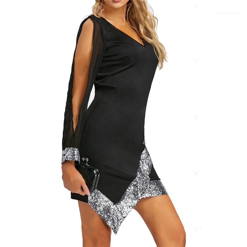 Женский Одежда женская дизайнер Щитовые платья моды выдалбливают с длинным рукавом V шеи Дамы платье тонкий сексуальный