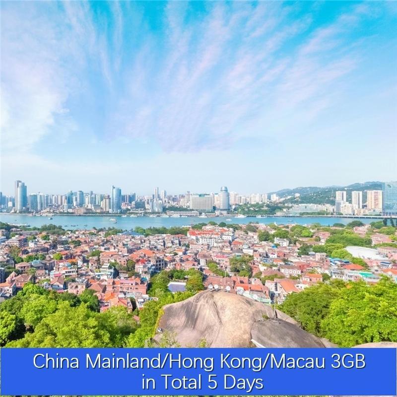 China Continental / Hong Kong / Macau 3GB no total 5 dias VPN ilimitado de Roaming Global Viagem Dados Simcard Pré-pago Internet Turismo Cartão Pric baratos