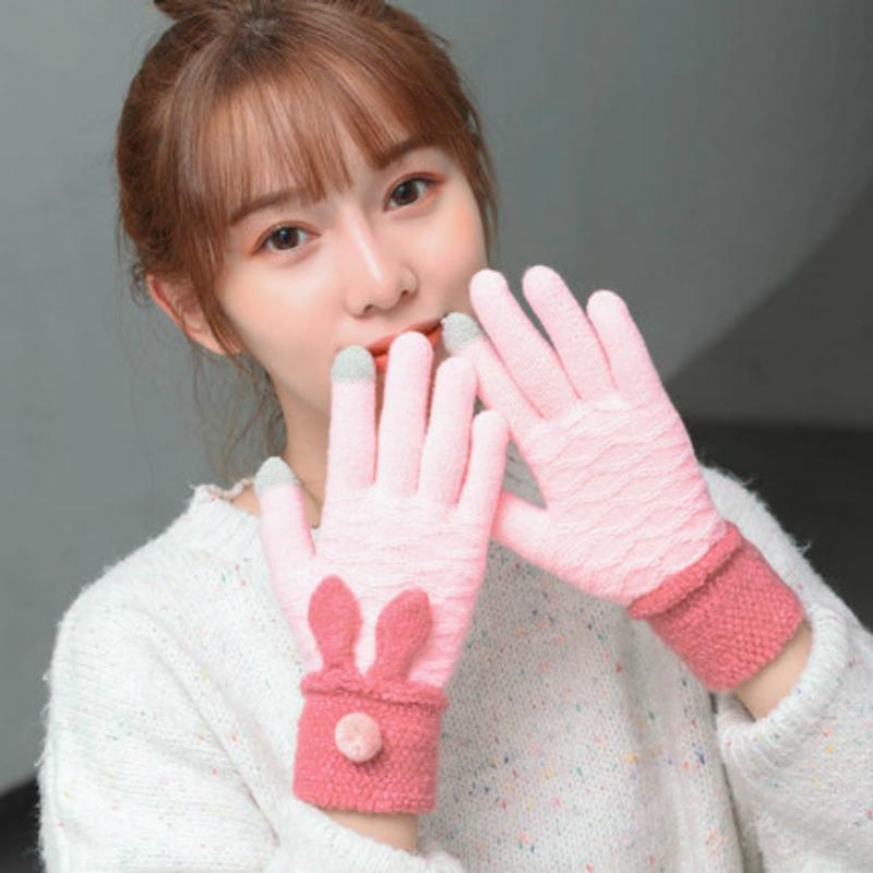 2020 новых осенью и зимой шерсть утолщение плюс бархат теплые перчатки уши вязаные перчатки мультфильм женщина