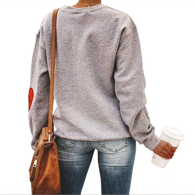 bDFgi manica inverno cane girocollo e artiglio stampato Pullover sweaterTop pullover modello polsino di amore Sweatersweater lungo autunno top pGRT6