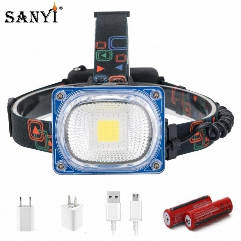 LED faróis High Power USB recarregável Farol COB Wide Angle Head Lamp Torch 3 Modos Lanterna Camping 2x18650 frontal Lamp XOWO #