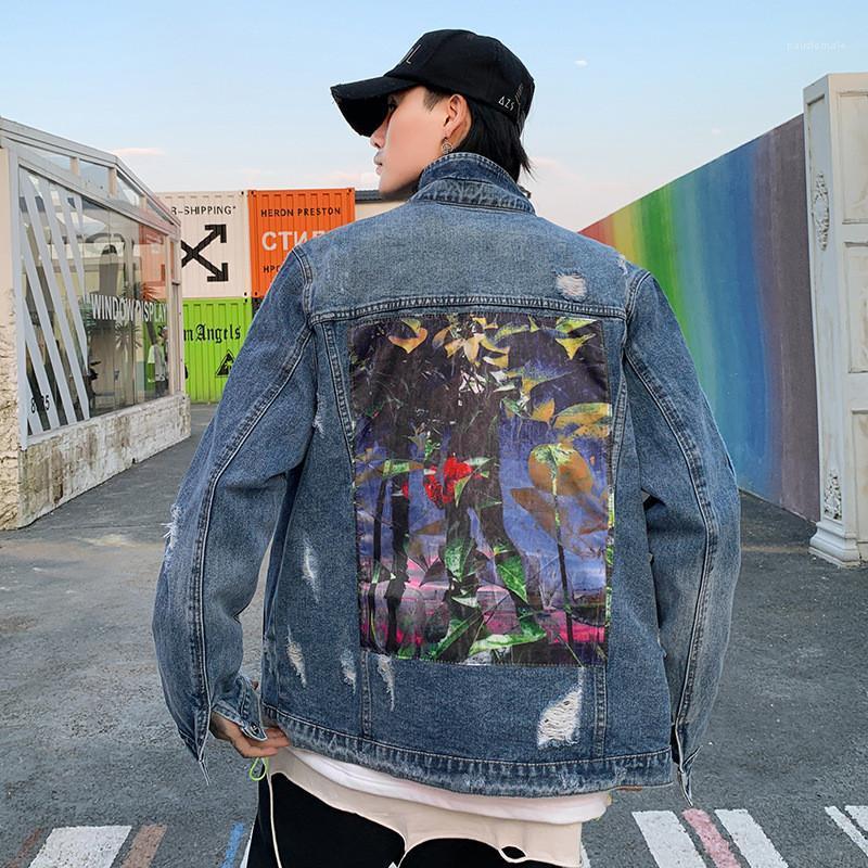 Designer Jacken Mode Street Style Graffiti Printed Gewaschen und Distrressed Aufmaß Jean Jacken der neuen Ankunfts-Männer Kleidung Hip Hop-Männer