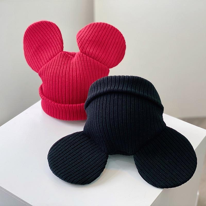 Beanie Big Ear per le donne cappello di inverno lavorato a maglia Autunno Skullies cappello unisex signore Warm Bonnet Cap ragazza coreana carina Cap Rosso Nero