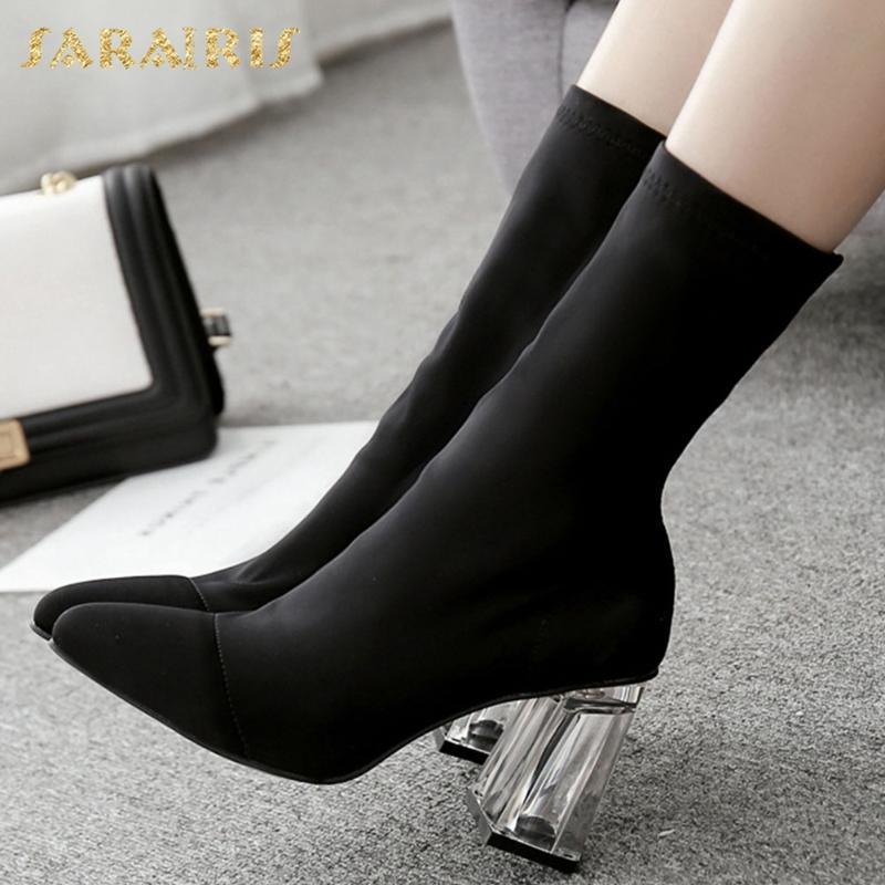 Boots Brand 2021 Большой Размер 42 Чистые Высокие каблуки Мода Обувь для вечеринок Женщины Упругие Дизайнеры Носок Женский