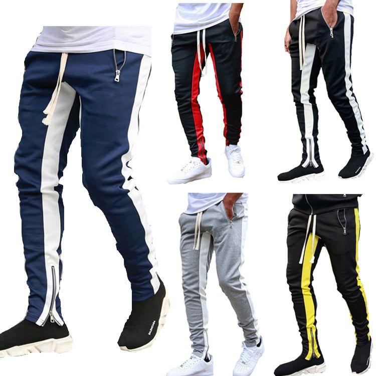 Pantalons hommes piste NOUVEAU Mode Hip Hop Fitness Streetwear Pantalons Hommes rayé Jogger Skinny Joggers Homme Sweatpants Pantalon