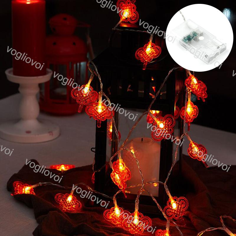 Christmas Lights LED Strings Chinese Knot 3000K 10 20 40Leds Holiday Lighting For Outdoor Courtyard Living Room Party Decoration DHL