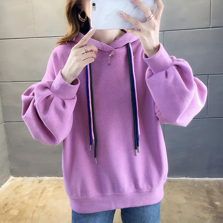TZF vermelho MM todo-match gordura Net manga longa maré solta estilo coreano tamanho grande encapuzados 2020 das mulheres Outono cor sólida Top m camisola Top Sweater