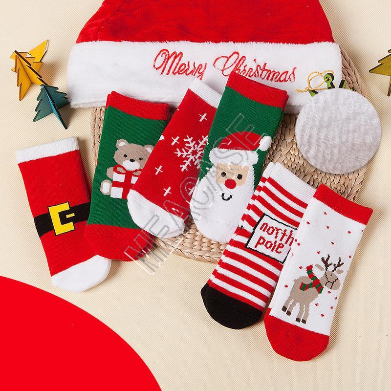 0-10T Kinder Kinder Terry Handtuch Socken Christmas Santa Elk Schneeflockedruck Cartoon Strümpfe Winter-Baby-Kleinkind Weihnachten Socken DHC2186 Warm
