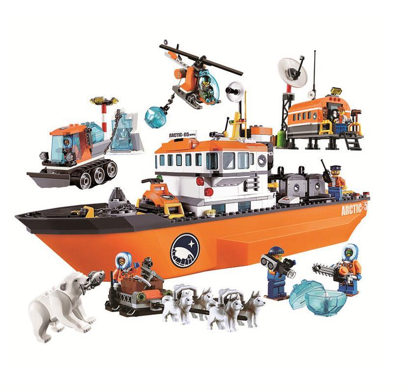 10443 مدينة القطبية مغامرة القطب الشمالي قواطع الجليد السفينة نموذج لبنات البناء الكلاسيكي الشكل لعب الأطفال Lepining متوافق
