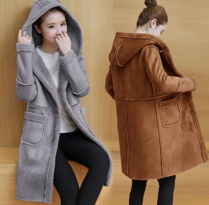 2019 Зимних Faux женщин ягнят шерсти овчина с капюшоном пальто Женщины Средней Длинного Shearling Пальто из искусственной замша куртка T200911