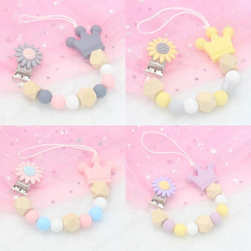 DIY Crown Silicone Pacifier Clip Wooden Bead Dummy Clip Holder sunflower Pacifier Clips Soother Chains Baby Teething Toy for Baby Chew