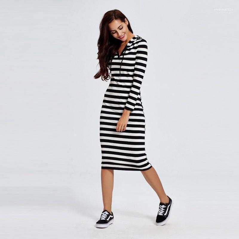 Beiläufige lange Ärmel mit Kapuze Kleid-Frauen-Kleid Striped Designer Frauen-Sommer-Dresse Sommer