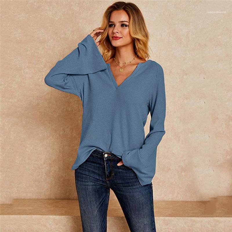 Shirts Bell-Hülsen-lose Sommer-Frauen Shirts mit V-Ausschnitt Langarm-Shirts Lange Solid Color Frühling Gerade Damen Designer
