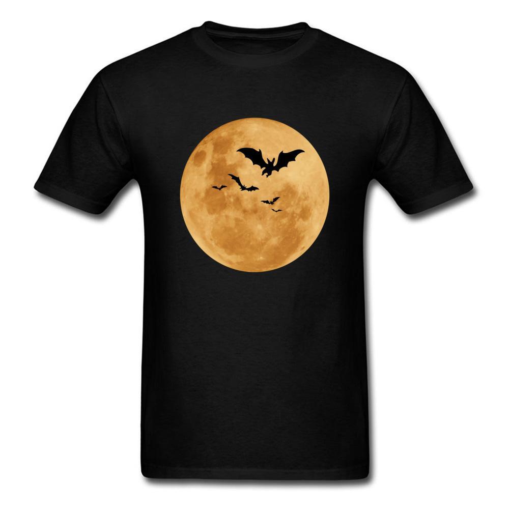 halloween Vergilbungen Mond und Schläger Straße T-Shirts Herren Kurzarm Unterstützung individuelle Art und Weise 3d T-Shirts runden Kragen T-Shirt-Mann