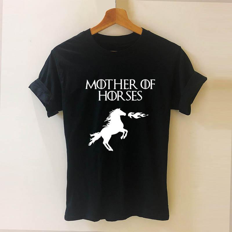 Mother Of Horses Stampa donne maglietta casuale cotone Hipster divertente maglietta di una ragazza Top Tee Drop Ship