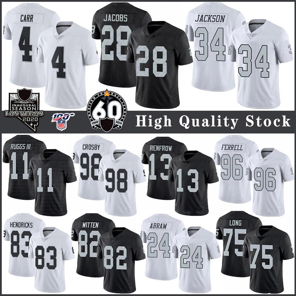 28 Josh Jacobs 4 Derek Carr OaklandRaider Fußballjerseys 11 Henry Ruggs III 13 Hunter Renfrow 75 Howie lang 34 Bo Jackson 98 Crosby