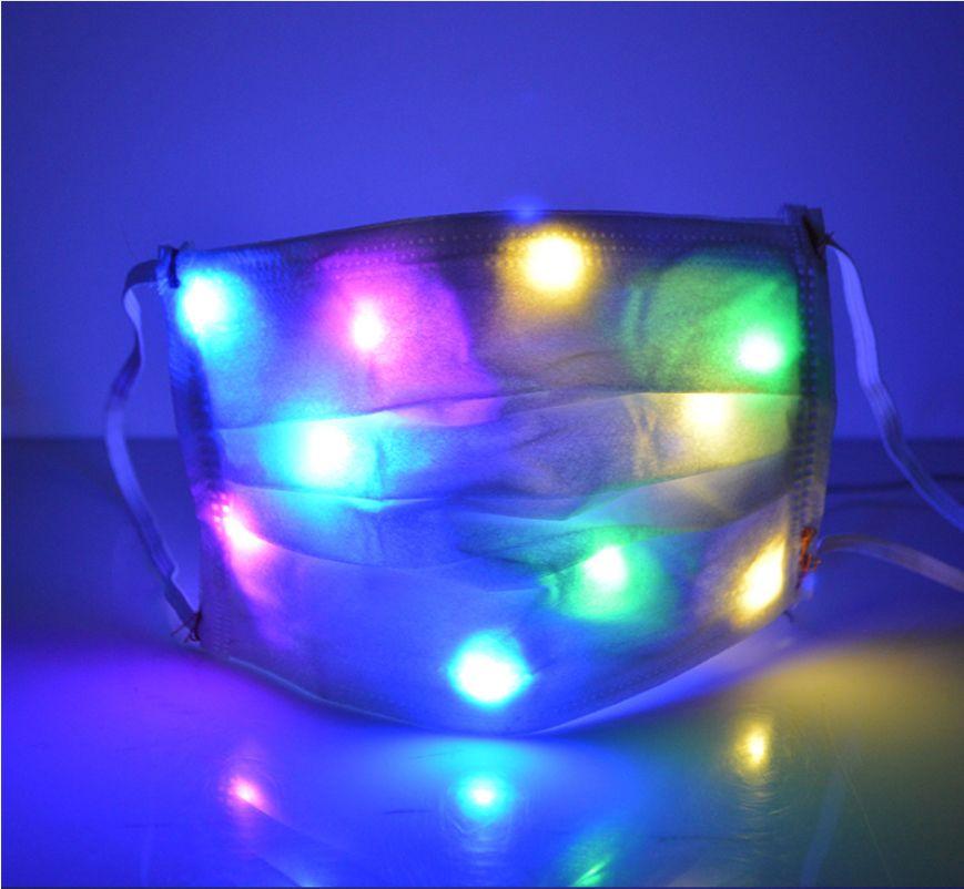 Cadılar Bayramı Noel Moda Yüz renkli LED ışık Tek Balo Gece kulübü Cadılar Bayramı Dekorasyon Parlayan Maske Maske