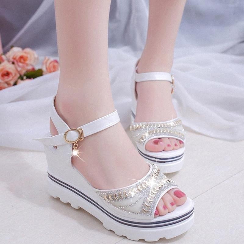 Kadınlar Yaz Partisi Sandalet Bayanlar Zarif Kristal Platformu Sandal Peep Toe Sandalet Ayakkabı 2020 Zapatos De Mujer NgM1 # takozu Ayakkabı