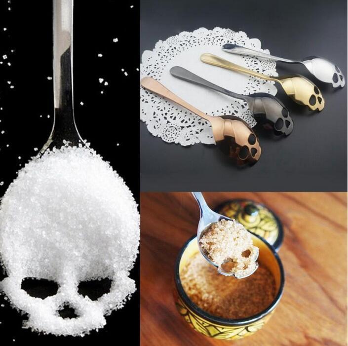 Stainless Steel Skull Shape Coffee Spoon Kitchen Supplies Long Handle Teaspoon Drink Tableware Coffee Spoon Kitchen Accessories