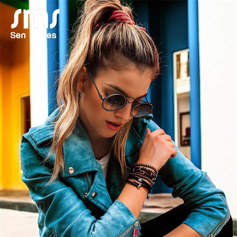 2020 Vintage Steampunk occhiali da sole di marca degli uomini dello specchio del progettista Blue Black Round Sun di Donne Retro Punk Glasses Shades Uv400 Ch01
