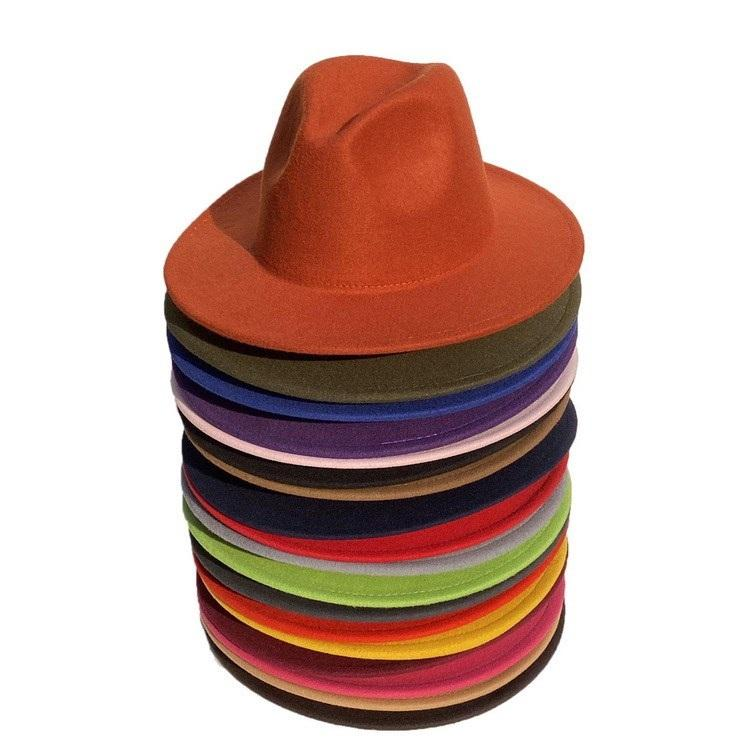 new Men's Fedora Hat For Gentleman Women Hats Wide Brim British Cap Band Wide Flat Brim Jazz Hats Party Hats T2C5280