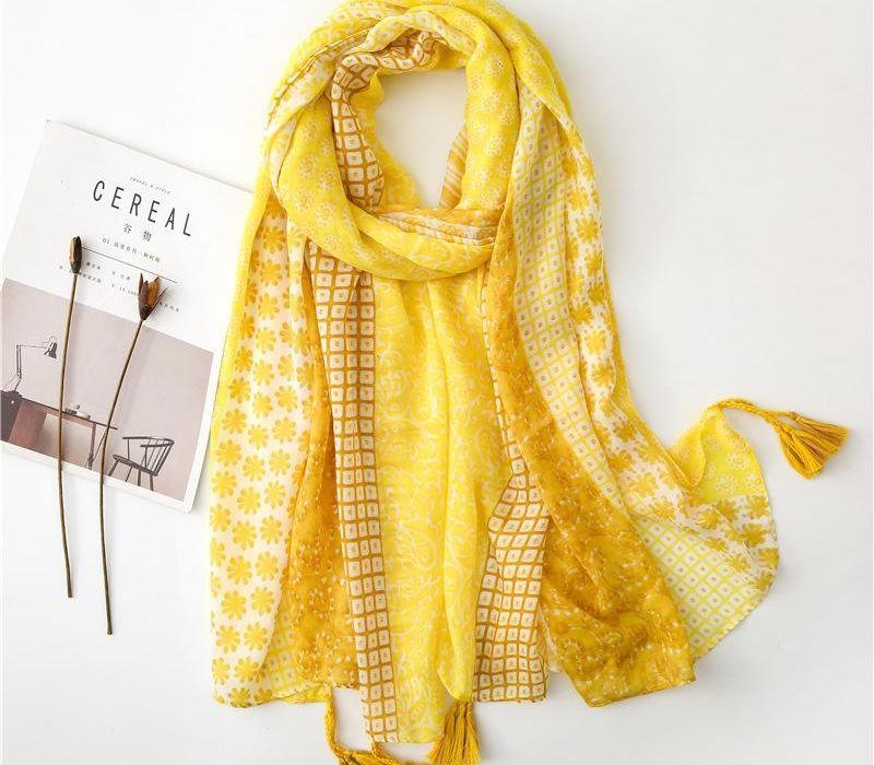 Fondo largo comprensión de algodón Feel Mujer de la bufanda Joker amarillo del otoño de temblor Turismo Mantón