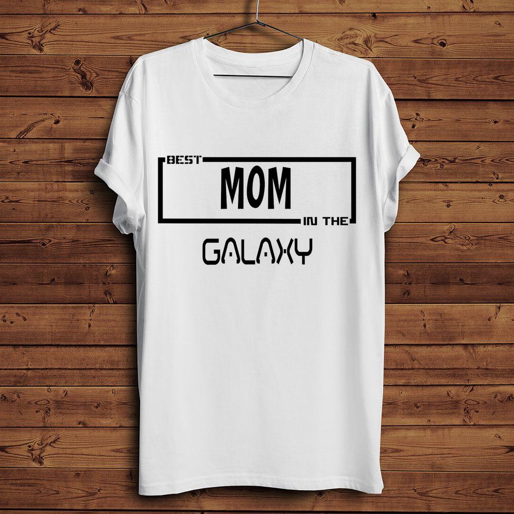 Лучшая мама мамочка в галактике смешной футболке 2019 летом новый белый случайный прохладный день матери подарок тенниску плюс размер