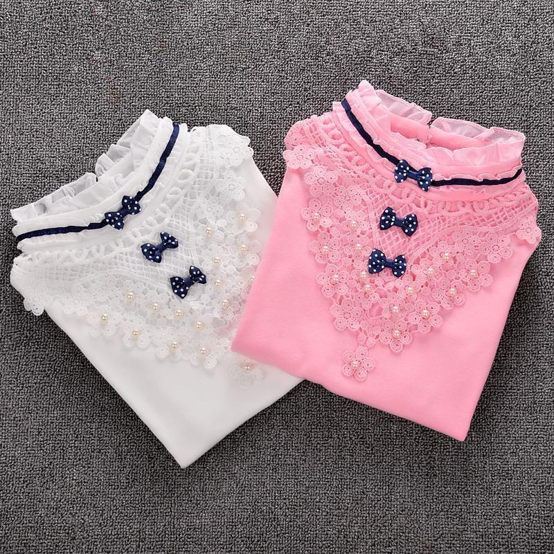 Camisa de los niños vestir de las niñas de la blusa de cuello alto de otoño del resorte del cordón del arco de algodón de manga larga Sudaderas Escuela ropa de los niños