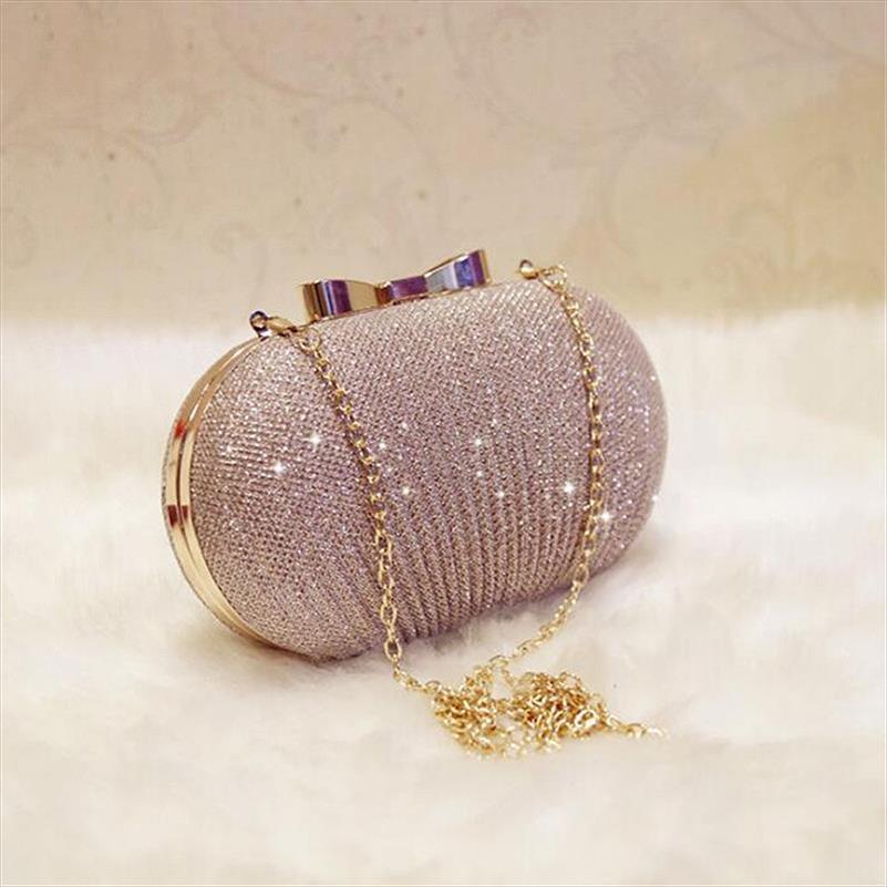 Golden Evening Clutch Bag Women Bags Wedding Shiny Handbags Bridal Metal Bow Clutches Bag Shoulder Bag