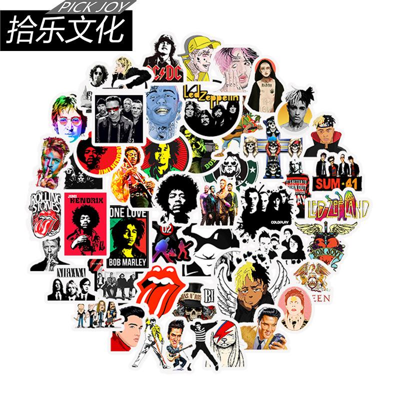 2020 cross-border new fashion,50 hip-hop rock suitcase stickers metal punk trend pull pole suitcase travel suitcase laptop stickers