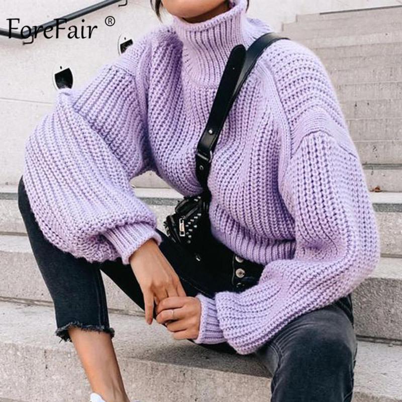 Delantera ocasional de punto suelto suéter de tortuga de gran tamaño mujeres ropa de punto de invierno manga larga sólido púrpura mujeres suéter y200910