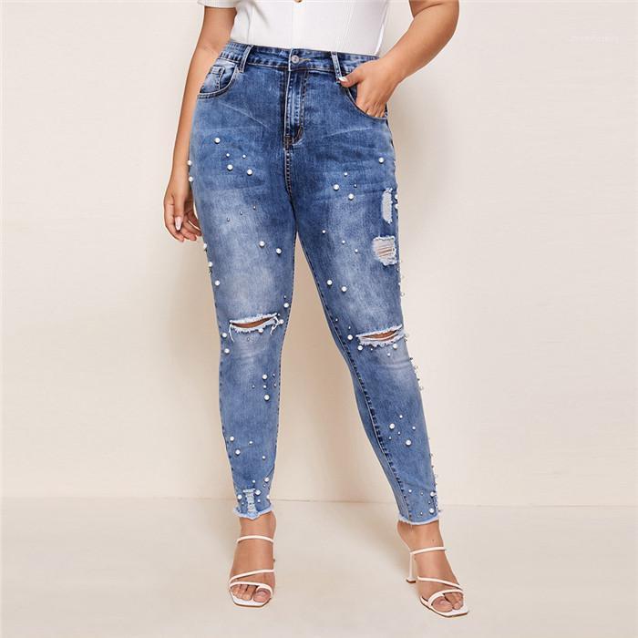 Slim Jeans Summer Vintage Perle Bleu clair Washed Pantalons Crayon Taille 4XL Pantalons Mode Femmes Ripped Trou