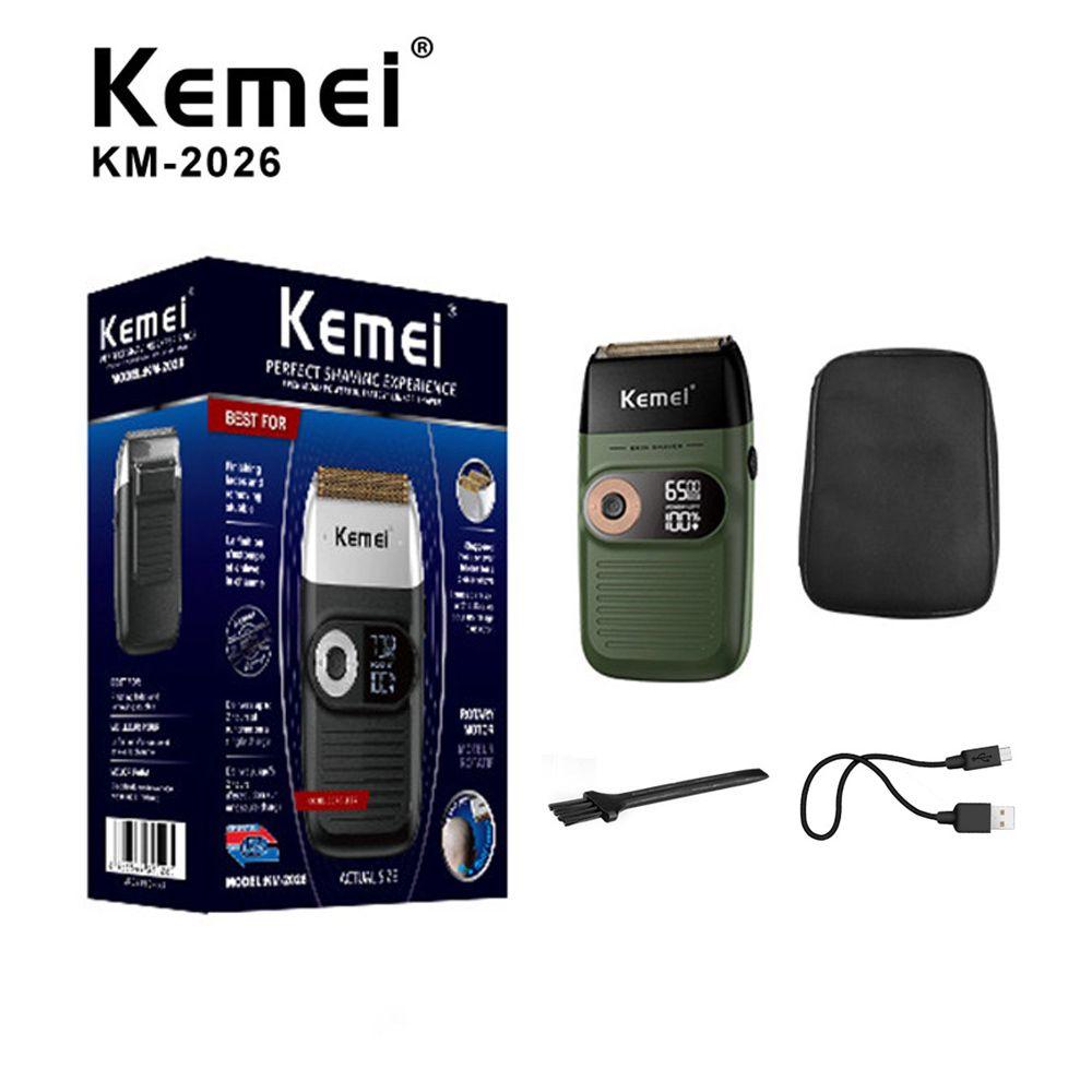 Kemei KM-2026 Erkekler Için Elektrik Tıraş Makinesi İkiz Bıçak Su Geçirmez Pistonlu Akülü Razor USB Şarj Edilebilir Tıraş Makinesi Berber Düzeltici