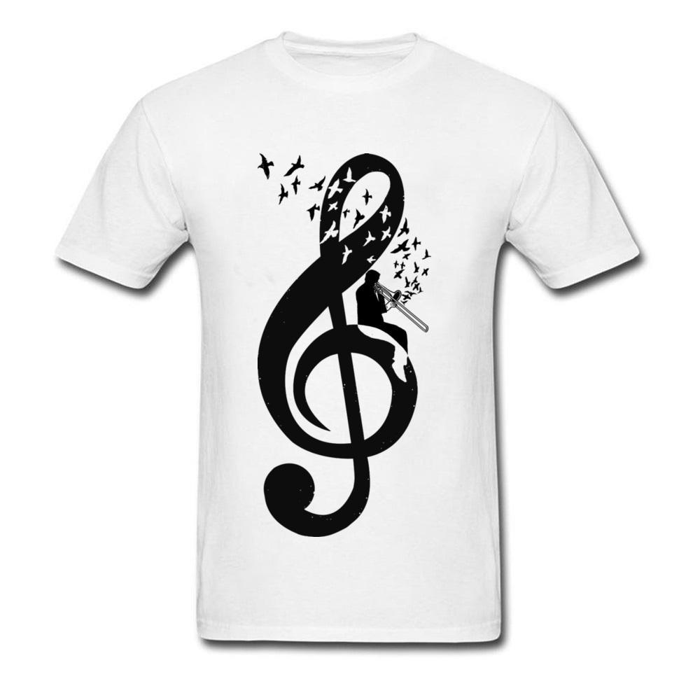 2018 Abschluss-T-Shirts Männer Violinschlüssel Posaune Designer Shirt der Männer T-Shirt Voll Baumwolle Hip Hop-T-Shirt Bass-Musik